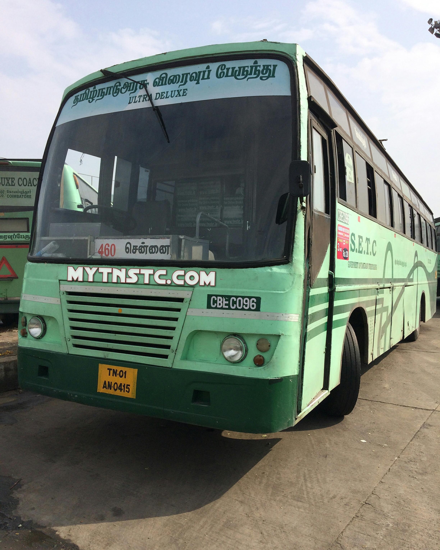 Coimbatore Attractions: Coimbatore To Chennai Non AC Coach TN 01 AN0415 SETC